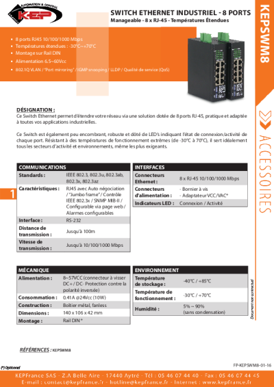 Switch Industriel Ethernet  - 8 Ports - RJ45